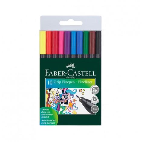 Faber Castell Grip Fine Pen 10 Colors, 0.4mm