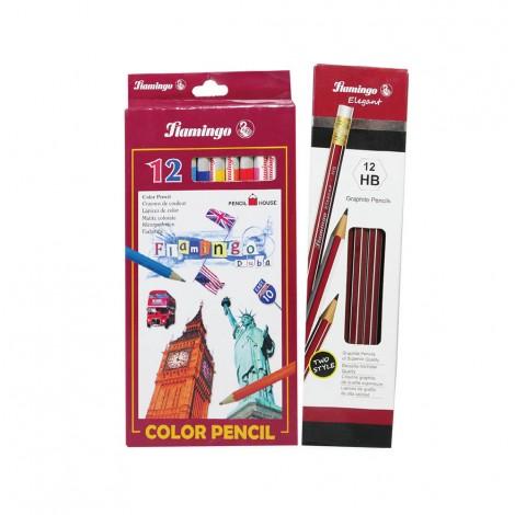 Flamingo 12 Hb Pencils + 12 Color Pencils