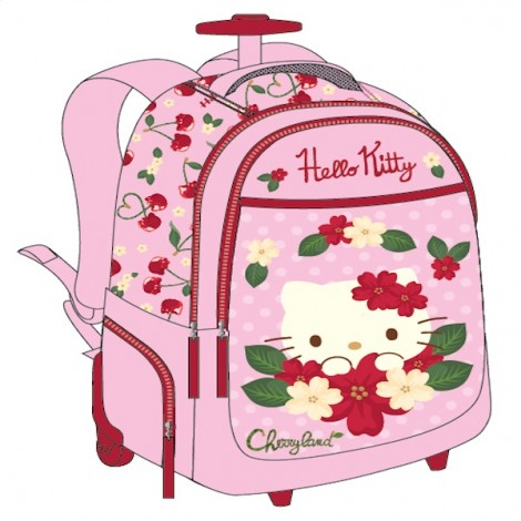 "Hello Kitty (7609) School Bag 18.5"" Pink Trolley HK314-806A"