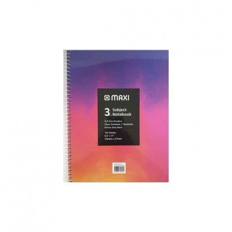 Maxi 120 Sheets Spiral Hard Cover 3 Subjects Notebook