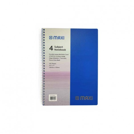 Maxi 160 Sheets Spiral Pp 4 Subjects Notebook 9.5X7
