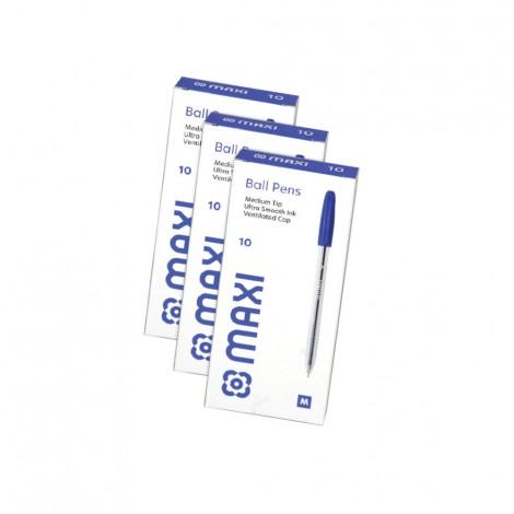 Maxi Ball Pen 1mm Blue - 3x10's