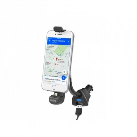 SBS TESUPPLIGHTNING Car holder charger with lightning connector and USB port