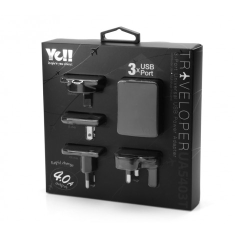Yell 3-Port Universal Usb Travel Adapter Black UA5403TB K