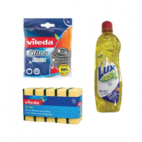 Vileda Inox 1 Pc+Tip Top 5Pcs +Lux 375ml Free