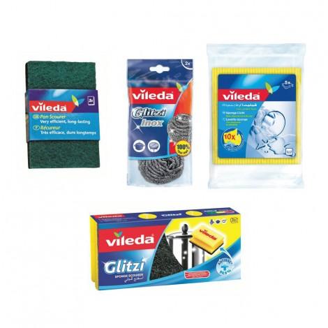 Vileda Sponge Cloth 3Pc+Inox 2pc+Gl3pc