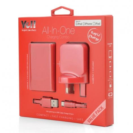 Yell 3 Port Usb Adapter+Powerbank+Lightening Cable Red VA38BL R
