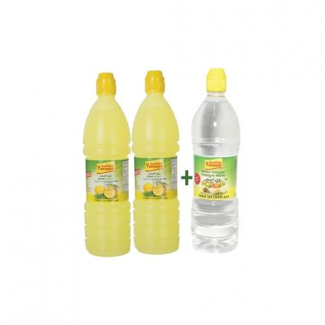 Yamama Lemon Juice + White Vinegar 2x1Ltr+1Ltr