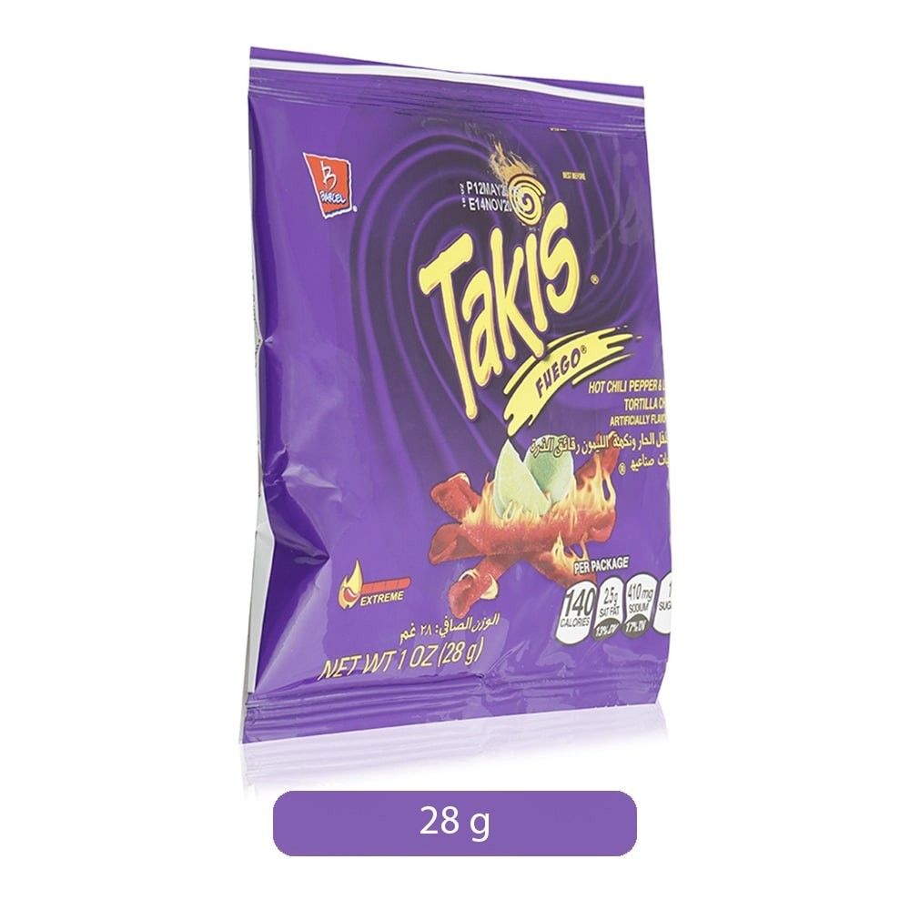 Barcel Takis Fuego Hot Chili Pepper Lime Tortilla Chips 28 G