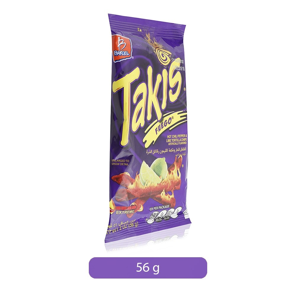 Barcel Takis Fuego Hot Chili Pepper Lime Tortilla Chips 56 G
