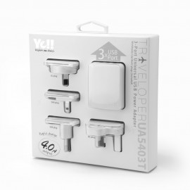 Yell 3-Port Universal Usb Travel Adapter White UA5403TB W