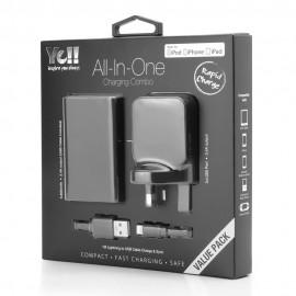 Yell 3 Port Usb Adapter+Powerbank+Lightening Cable Black VA38BL K