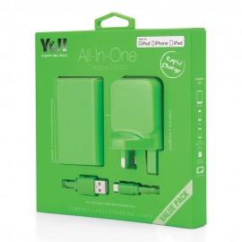 Yell 3 Port Usb Adapter+Powerbank+Lightening Cable Green VA38BL G