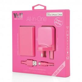 Yell 3 Port Usb Adapter+Powerbank+Lightening Cable Pink VA38BL P