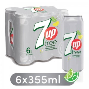 7UP Free, Carbonated Soft Drink, Cans, 6 x 355 ml