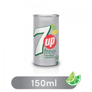7UP Free, Carbonated Soft Drink, Mini Can, 150 ml