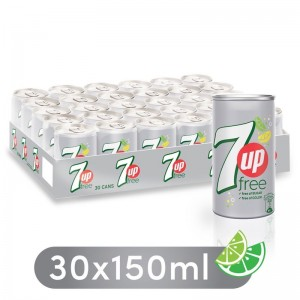 7UP Free, Carbonated Soft Drink, Mini Cans, 30 x 150 ml