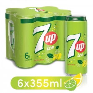7UP Ice, Carbonated Soft Drink, Cans, 6 x 355 ml