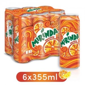 Mirinda Orange, Carbonated Soft Drink, Cans, 6 x 355 ml