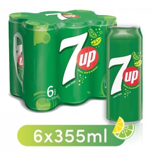 7UP, Carbonated Soft Drink, Cans, 6 x 355 ml