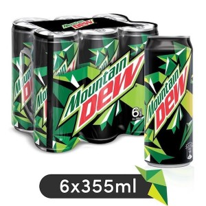 Mountain Dew, Carbonated Soft Drink, Cans, 6 x 355 ml