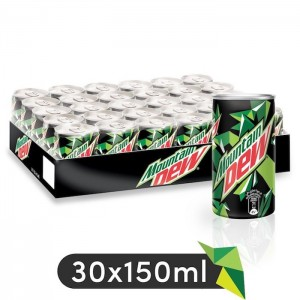 Mountain Dew, Carbonated Soft Drink, Mini Cans, 30 x 150 ml