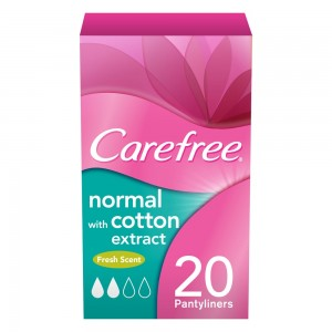 CAREFREE®, Panty Liners, Cotton Feel, Fresh Scented, Pack of 20, Individually Folded