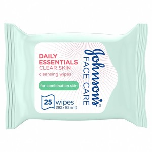 JOHNSON'S, Cleansing Wipes, Daily Essentials, Clear Skin, Combination Skin, Pack of 25 wipes