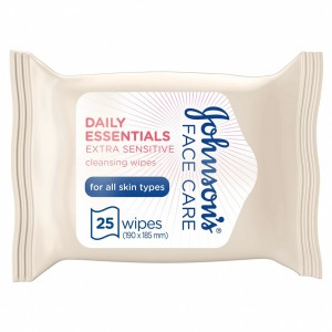 JOHNSON'S, Cleansing Wipes, Daily Essentials, Extra-Sensitive, All Skin Types, Pack of 25 wipes
