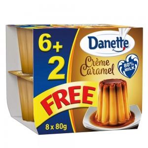 Danette, Dessert, Crème Caramel, 80g, pack of 6 + 2 Free
