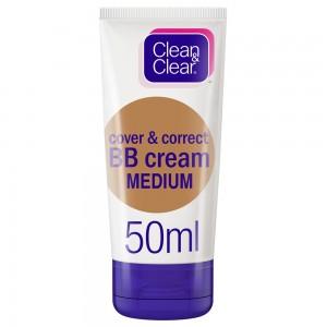 CLEAN & CLEAR, BB Cream, Cover & Correct, Medium 50ml