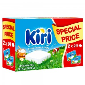 Kiri Spreadable Cream Cheese Squares, 24 portions x 2 packs, 48 portions, 864g