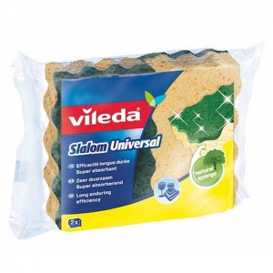 Vileda Slalom Universal Medium Foam Dish Washing Sponge Scourer 2Pcs