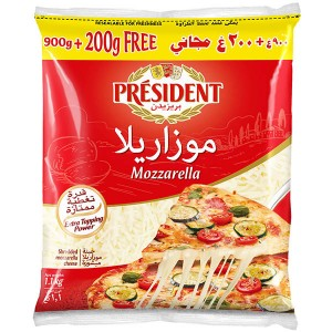 President Mozzarella Shredded Cheese - 900 + 200 g