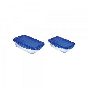 Pyrex Cook&Go Rectangular Dish With Lid 25Cm + 20Cm