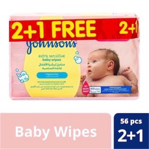 Johnson's Extra Sensitive Wipes, 52 Wipes
