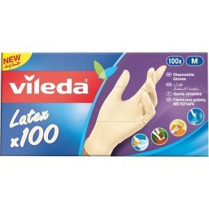 Vileda Disposable Latex Gloves Large 100Pcs