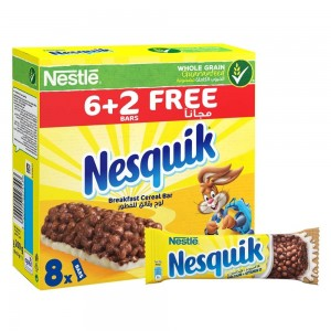 Nestle Nesquik Chocolate Breakfast Cereal Bar 25g (6+2 Bars)