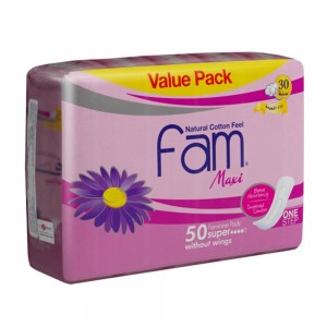 Fam One Step Natural Cotton Feel, Maxi Thick, Non-Wings Super Sanitary Pads,50 pads