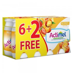 Actimel, Dairy Drink, Low Fat, Multifruit, 93ml x 8 pack (6 + 2Free)