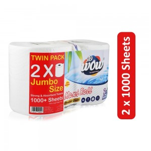 Wow Maxi Roll Strong & Absorbent Towel - 2 x 1000 Sheets