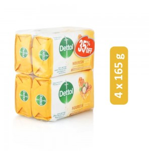 Dettol Nourish Anti-Bacterial Soap Bar - 4 x 165 g