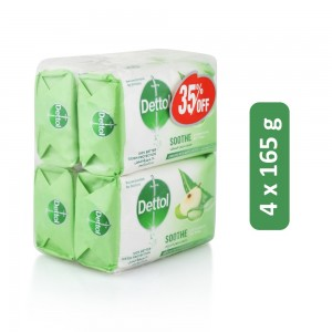 Dettol Soothe Anti-Bacterial Bar Soap- 4 x 165 g