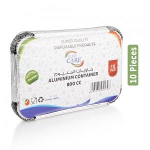 Euro Care 800CC Aluminum Container with Lid - 10 Pieces