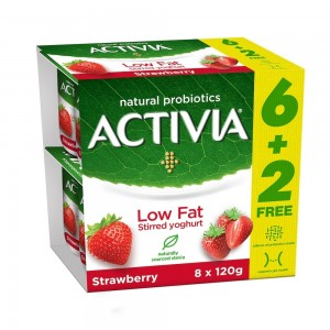 Activia, Stirred Yoghurt, Low Fat, Strawberry, 120g x 8 pack (6 + 2Free)
