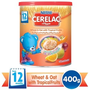 Nestle Cerelac From 12 Months, Wheat And Oat With Tropical Fruits And Milk Infant Cereal 400g Tin, 24 Pcs