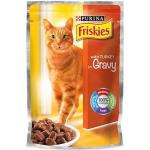 Purina Friskies With Turkey In gravy Cat Food Single Serve Pouch 100g