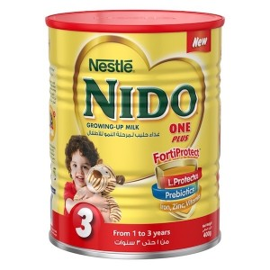Nestle Nido Fortiprotect One Plus (1-3 Years Old) growing Up Milk Tin 400g, 24 Pcs