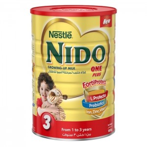 Nestle Nido Fortiprotect One Plus (1-3 Years Old) growing Up Milk Tin 1800g, 6 Pcs