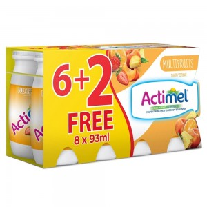 Actimel Multi-Fruit Flavored Low Fat Dairy Drink 93ml x 8 (6+2Free)